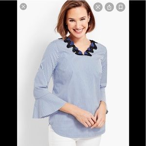 Talbots striped bell sleeved top